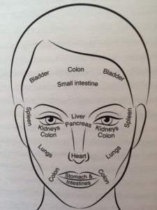 This illustration from the book, based on Traditional Chinese Medicine, shows what parts of the face correspond to which system in the body