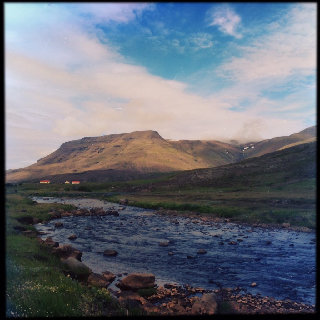 Iceland scenery - mountain and river near Reykjavik