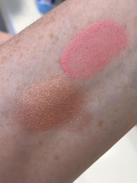colour swatch on arm of NARS lOrgasm liquid blush and Orgams Illuminating Loose Powder