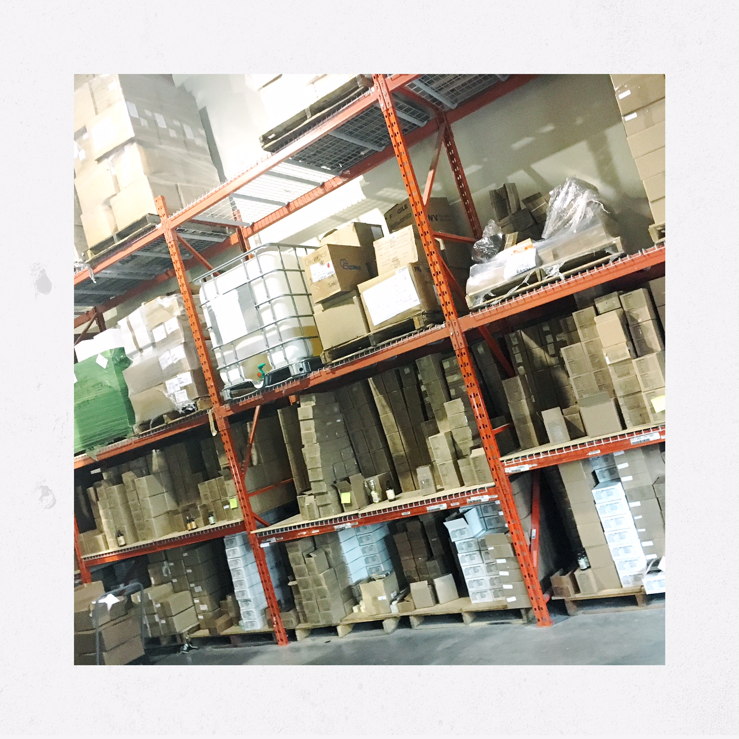 factory shelves full of Barefoot Venus product