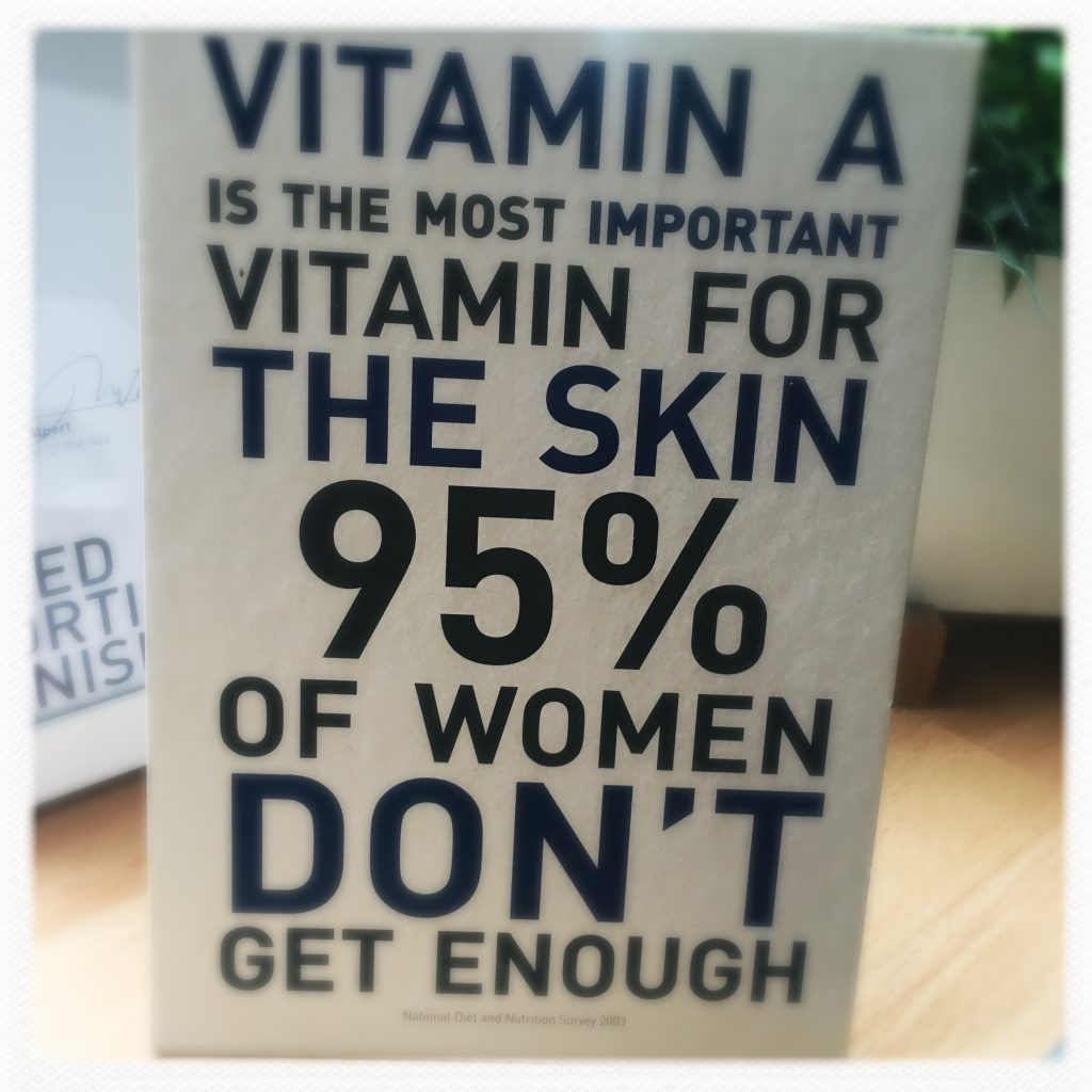 "photo of a sign that says ""Fit A is the most essential vitamin for the skin. 95% of women don't get enough"""