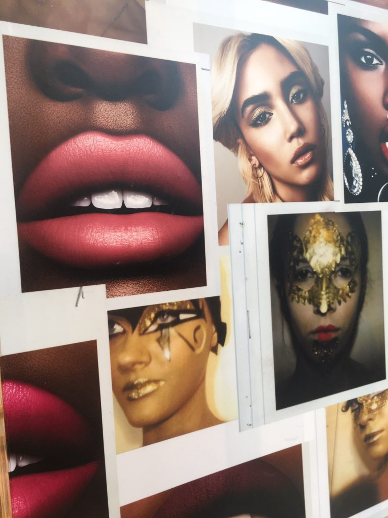 collection of photos of runway makeups by Pat McGrath Labs makeup artists, shown models of all races in makeups like face lace and gold paint